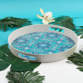Cambridge CM07003 St Tropez Round Reusable Tray with Handles, 38 cm | Perfect for Serving Drinks at Parties Thumbnail 1
