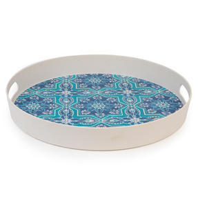 Cambridge CM07003 St Tropez Round Reusable Tray with Handles, 38 cm | Perfect for Serving Drinks at Parties Thumbnail 2