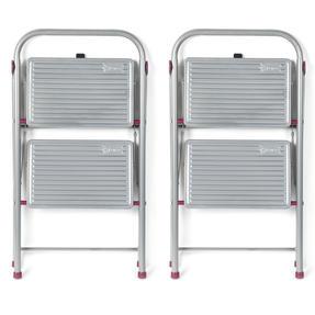 Kleeneze COMBO-5345 2-Step Folding DIY Stepladder, 80cm, Pink/Grey, 180kg Capacity, Set Of 2