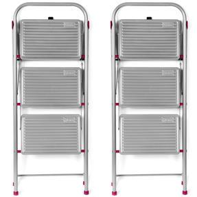 Kleeneze COMBO-5346 3-Step Folding DIY Stepladder, 105cm, Pink/Grey, 180kg Capacity, Set Of 2