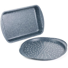 Russell Hobbs COMBO-5440 Nightfall Stone Non-Stick Pizza Tray and Roaster Set, 37/38 cm, 2 Piece