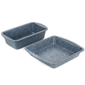 Russell Hobbs COMBO-5441 Nightfall Stone Non-Stick Loaf Tin and Square Pan Set, 26/28 cm, 2 Piece