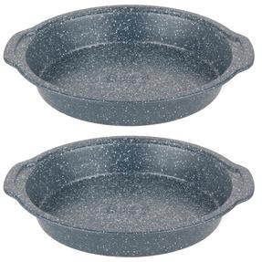Russell Hobbs COMBO-5442 Nightfall Stone Non-Stick Round Pan, 26 cm, Blue Marble, Set Of 2
