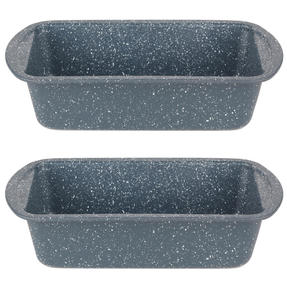 Russell Hobbs COMBO5443 Nightfall Stone Loaf Pan, 28 cm, Blue Marble, Set Of 2