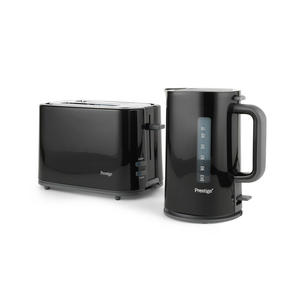 Prestige COMBO-5909 Eco 1.7 Litre Kettle and 2-Slice Toaster with High-Lift/Auto Pop-Up, Black Thumbnail 1