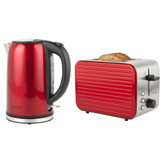 Prestige COMBO-5910 Pearlescent Cordless Kettle and 2-Slice Toaster Set, Red