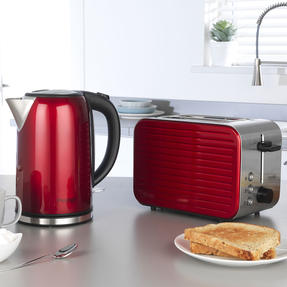 Prestige COMBO-5910 Pearlescent Cordless Kettle and 2-Slice Toaster Set, Red Thumbnail 2
