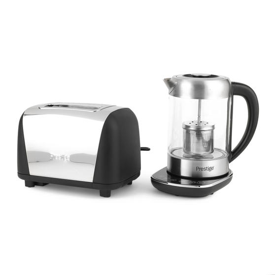 Prestige COMBO-5911 2-in-1 Glass Kettle with Digital Base and 2-Slice Toaster with High-Lift Function