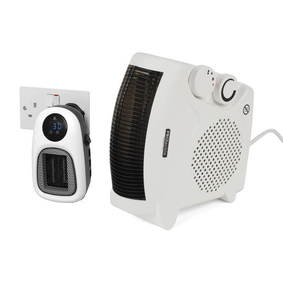 Prolectrix COMBO-5935 Portable Flat Fan Heater and Cooler with Digital Plug-In Mini Heater, 2000/500 W, White