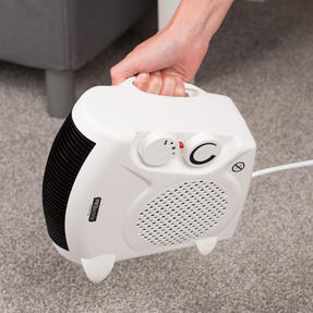 Prolectrix COMBO-5935 Portable Flat Fan Heater and Cooler with Digital Plug-In Mini Heater, 2000/500 W, White Thumbnail 2