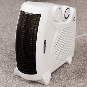 Prolectrix COMBO-5935 Portable Flat Fan Heater and Cooler with Digital Plug-In Mini Heater, 2000/500 W, White Thumbnail 3