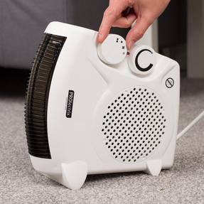 Prolectrix COMBO-5935 Portable Flat Fan Heater and Cooler with Digital Plug-In Mini Heater, 2000/500 W, White Thumbnail 4