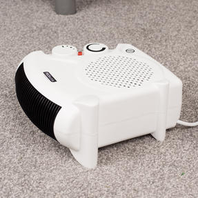 Prolectrix COMBO-5935 Portable Flat Fan Heater and Cooler with Digital Plug-In Mini Heater, 2000/500 W, White Thumbnail 5