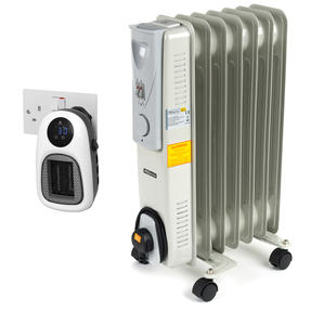 Prolectrix COMBO-5938 Portable 7 Fin Oil-Filled Radiator with Digital Plug-In Portable Mini Heater, 1500/500 W