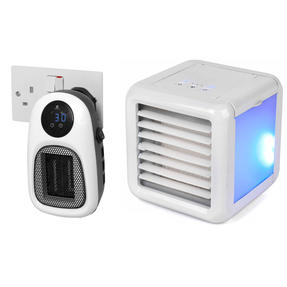 Beldray COMBO-6024 Personal Temperature Control Set with Digital Plug-In Mini Heater and Ice Cube Portable Table Top Air Cooler, 500 W/5 W, White