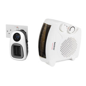 Beldray COMBO-6025 Portable Flat Fan Heater and Cooler with Digital Plug-In Mini Heater, 2000/500 W, White