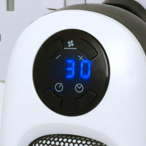 Beldray COMBO-6025 Portable Flat Fan Heater and Cooler with Digital Plug-In Mini Heater, 2000/500 W, White Thumbnail 4