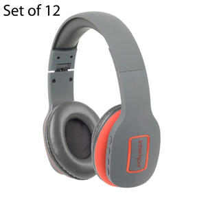 Intempo COMBO-5956 Active Wireless Bluetooth Foldable Headphones, Grey/Coral, Set of 12