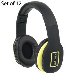 Intempo COMBO-5958 Active Wireless Bluetooth Foldable Headphones, Black/Yellow, Set of 12
