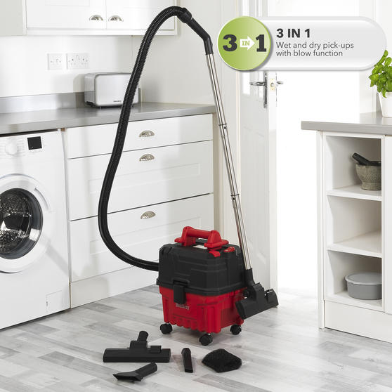 Beldray® Wet & Dry 3-in-1 Caddy Vacuum Cleaner with Blow Function | Accessories Included | 1200 W/17 kPa | 6 L Tank | 4.5 Metre Cord | HEPA Filter | Red Main Image 4