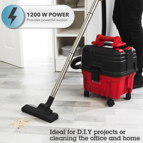 Beldray® Wet & Dry 3-in-1 Caddy Vacuum Cleaner with Blow Function | Accessories Included | 1200 W/17 kPa | 6 L Tank | 4.5 Metre Cord | HEPA Filter | Red Main Image 5