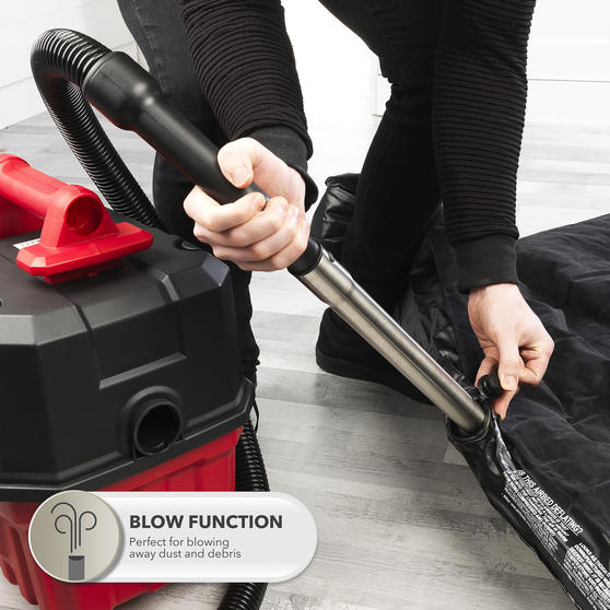 Beldray® Wet & Dry 3-in-1 Caddy Vacuum Cleaner with Blow Function | Accessories Included | 1200 W/17 kPa | 6 L Tank | 4.5 Metre Cord | HEPA Filter | Red Main Image 7