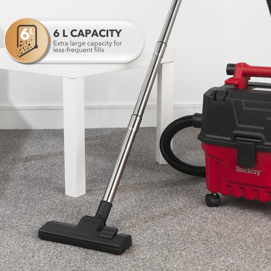 Beldray® Wet & Dry 3-in-1 Caddy Vacuum Cleaner with Blow Function | Accessories Included | 1200 W/17 kPa | 6 L Tank | 4.5 Metre Cord | HEPA Filter | Red Main Image 8