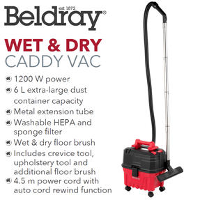 Beldray BEL01002 Wet and Dry Caddy Vacuum Cleaner, 1200 W Thumbnail 2