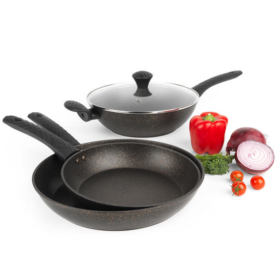 Salter® COMBO-5905 Megastone Gold Non-Stick Frying Pan and Wok Set, 24/28/30 cm, 3 Piece
