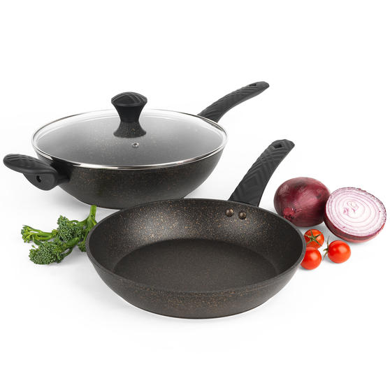 Salter® COMBO-5907 Megastone Gold Non-Stick Wok and Frying Pan Set, 24/28 cm, 2 Piece