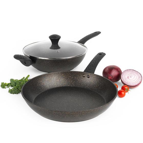 Salter® COMBO-5908 Megastone Gold Non-Stick Wok and Frying Pan Set, 28/30 cm, 2 Piece