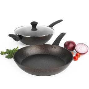 Salter® COMBO-5908 Megastone Gold Non-Stick Wok and Frying Pan Set, 28/30 cm, 2 Piece Thumbnail 1