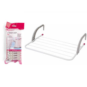 Kleeneze® COMBO-6052 6-Bar Radiator Attachable Airer for Hand Towels or Clothes with 24 Pegs | Holds up to 3 KG, Grey/Pink
