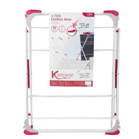 Kleeneze KL072498NEU Elegant Three-Tier Clothes Airer, 64 x 45 x 138 cm, Pink/Grey Thumbnail 2