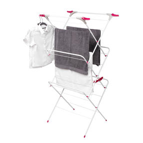 Kleeneze KL072498NEU Elegant Three-Tier Clothes Airer, 64 x 45 x 138 cm, Pink/Grey Thumbnail 3
