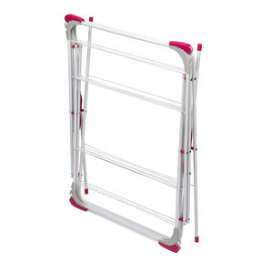 Kleeneze KL072498NEU Elegant Three-Tier Clothes Airer, 64 x 45 x 138 cm, Pink/Grey Thumbnail 4