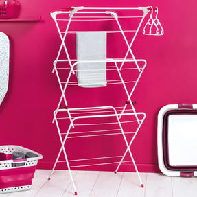 Kleeneze KL072498NEU Elegant Three-Tier Clothes Airer, 64 x 45 x 138 cm, Pink/Grey Thumbnail 6
