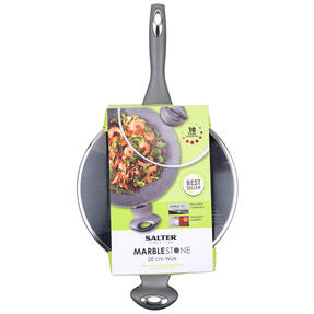 Salter BW02772GN Marble Collection Forged Aluminium Non Stick Wok, 28 cm, Grey Thumbnail 2