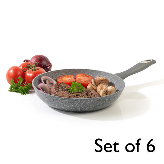 Salter® COMBO-6070 Marblestone Forged Aluminium Non Stick Frying Pan, 28 cm, Grey, Set of 6 | Ideal for Schools, Catering & Student Homes