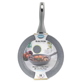 Salter® COMBO-6070 Marblestone Forged Aluminium Non Stick Frying Pan, 28 cm, Grey, Set of 6 | Ideal for Schools, Catering & Student Homes Thumbnail 6