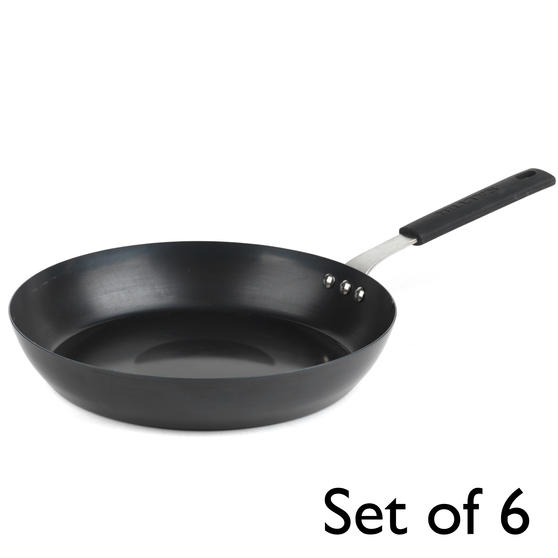 Salter® COMBO-6073 Carbon Steel Pan for Life Frying Pan, 28 cm, Black, Set of 6 | Ideal for Schools, Catering & Student Homes