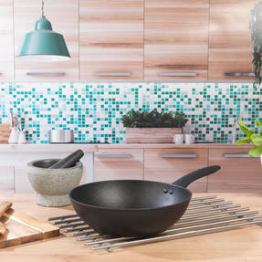 Salter® COMBO-6186 Diamond Tech Gold Edition Non-Stick Stir Fry Pan and Frying Pan Set | 28 cm | 2 Piece | Induction Suitable | Metal Utensil Safe Thumbnail 6