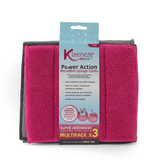Kleeneze® KL070913EU Microfibre Sponge Cloths . Pack Of 3, Grey