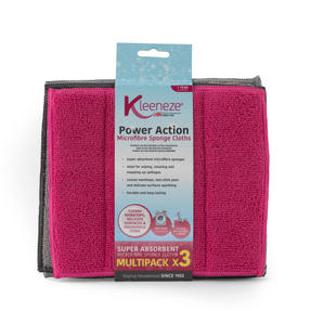 Kleeneze® Microfibre Sponge Cloths . Pack Of 3, Grey