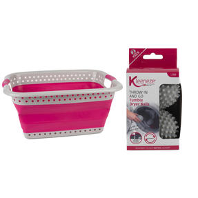 Kleeneze® COMBO-6150 60L Collapsible Laundry Basket with Additional 2 Pack Tumble Dryer Balls, Pink/Grey