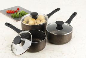 Russell Hobbs RH00994DL Crystaltech Non-Stick Saucepan Set| 3 Piece | 16/18/20 cm | Metal Utensil Safe | Dishwasher Safe | Bronze Thumbnail 2