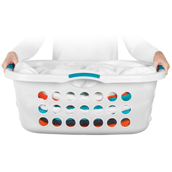 Beldray® Hip Hugger Laundry Basket, 45 Litre Capacity, White Main Image 2