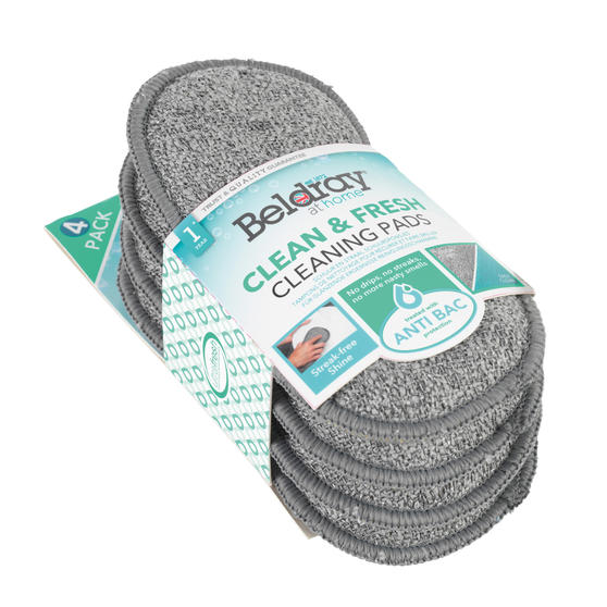Beldray® Clean & Fresh Microfibre Scrubber Cleaning Pads | 4 Pack | Treated with Ultra-Fresh Anti-Bacterial Protection Main Image 3