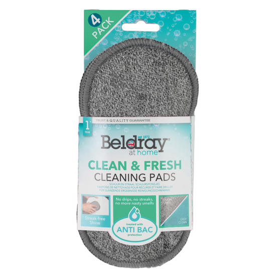Beldray® Clean & Fresh Microfibre Scrubber Cleaning Pads | 4 Pack | Treated with Ultra-Fresh Anti-Bacterial Protection