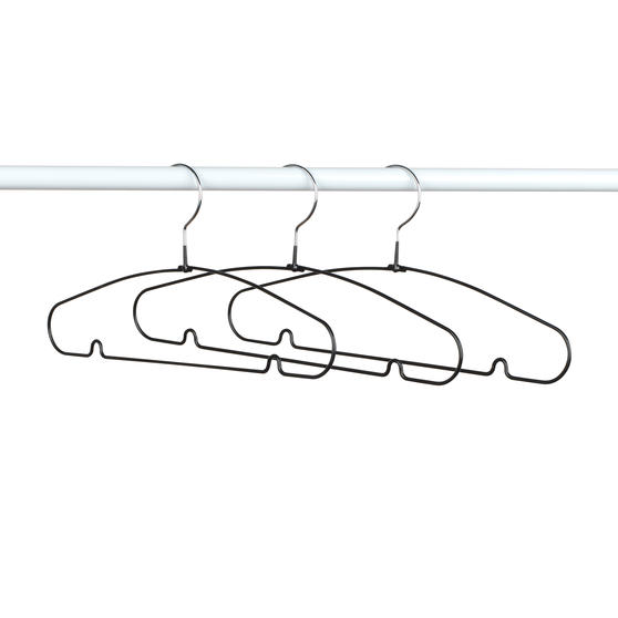 Beldray® Metal Clothes Garment and Trouser Hangers with PVC Non-Slip Coating | Pack of 8 | Black Main Image 3